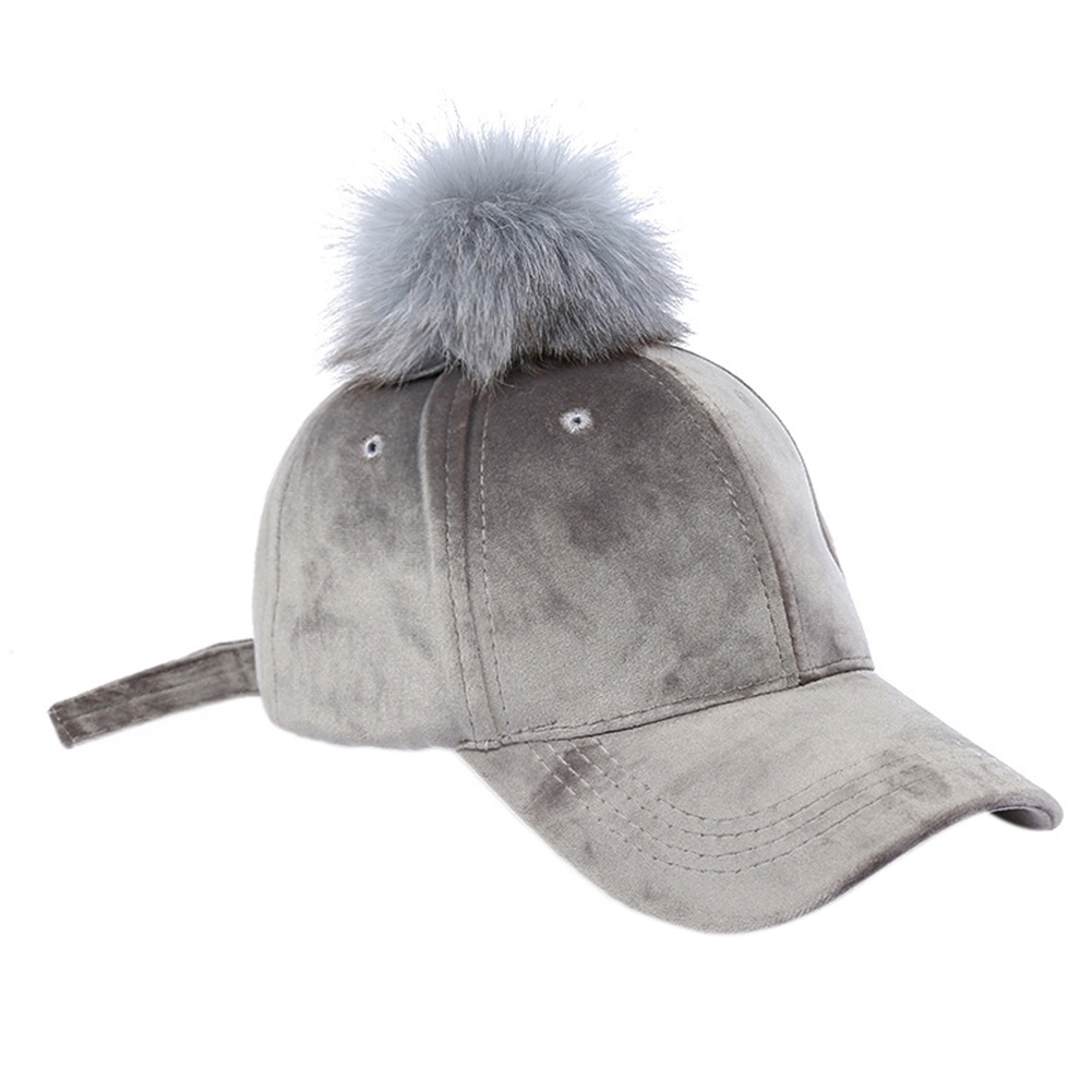 Suede Solid Color Baseball Cap with Removable Big Plush Ball Hat for Outdoor Activities
