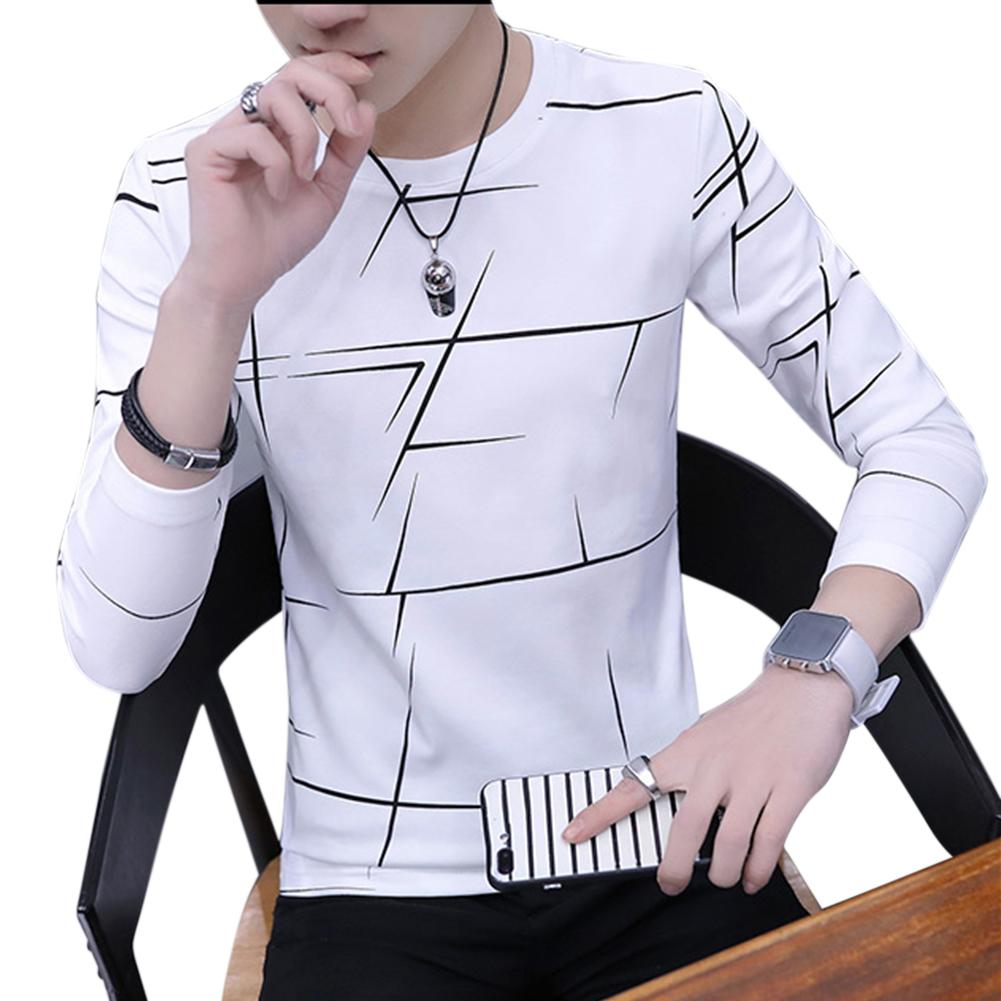 Men Fashion Long Sleeve T-shirt Printing Round Collar Slim Fit Casual Bottom Shirt  white_M