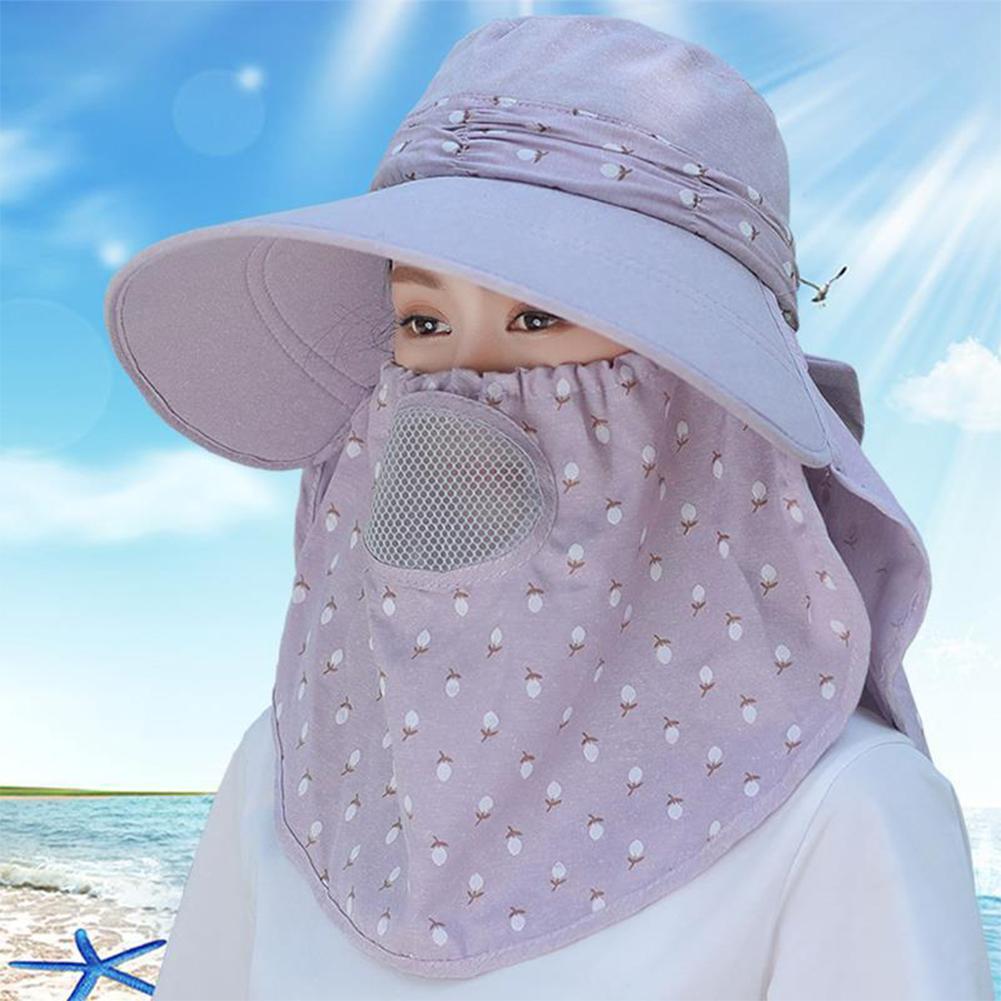 Women Summer Large Brim Sun Hat UV Protection Folding Mask Breathable Hat Light purple