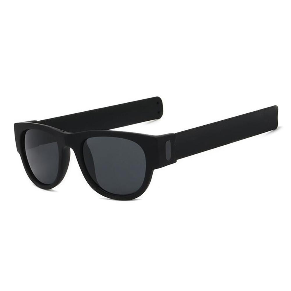 Round Sunglasses for Men and Women Outdoor Fold Sun Glasses Portable Sports Glasses black