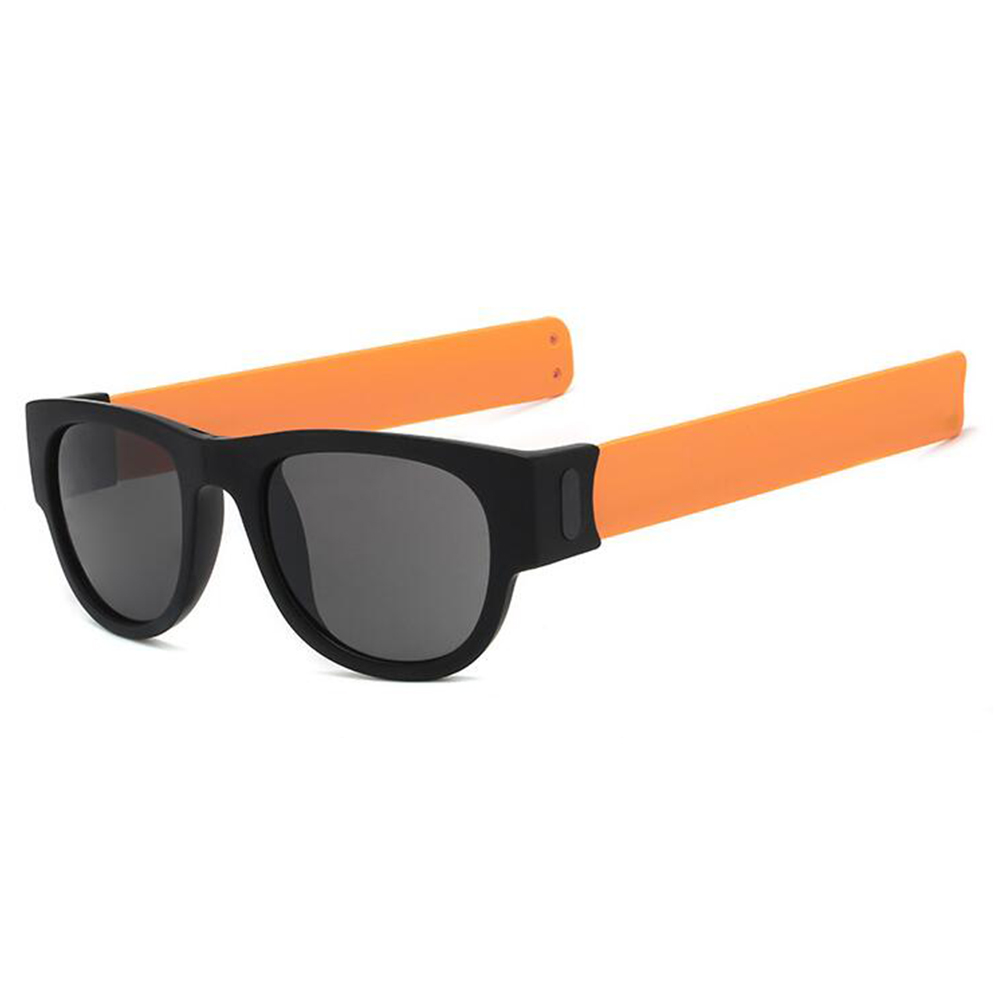 Round Sunglasses for Men and Women Outdoor Fold Sun Glasses Portable Sports Glasses Orange