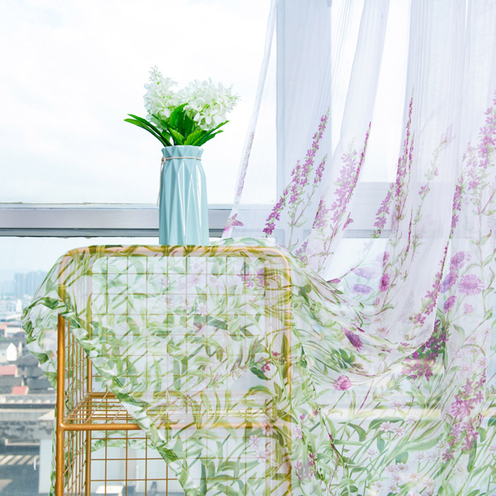 Anti-mosquito Window Curtain with Butterfly Branch Pattern Translucent Tulle for Living Room Balcony purple_W 100cm * H 200cm rod