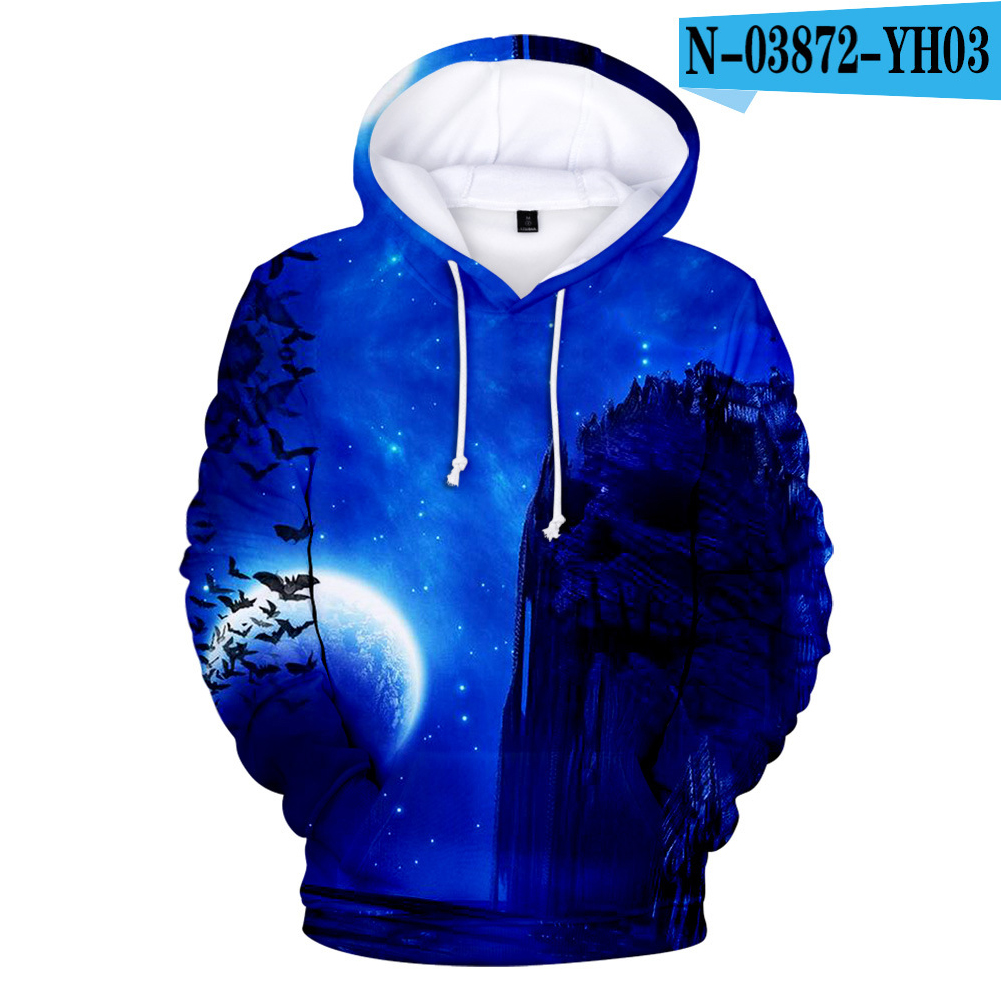 3D Mountain in Night Digital Printing Hooded Sweatshirts for Men Women Halloween Wear N-03872-YH03 4 styles_M