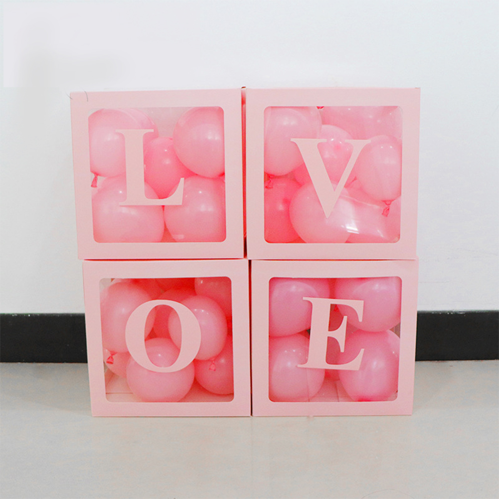 4pcs/set DIY Transparent Box Blocks for Wedding Birthday Party Ballons Decoration LOVE balloon box (pink)