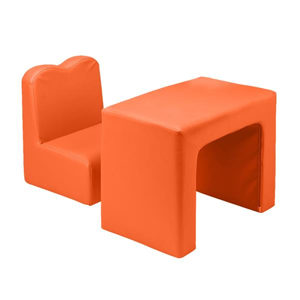 [US Direct] N101 49 * 32 * 39cm Children Sofa Environmental Protection Pvc Solid Wood Composite Board Rectangular Orange 2 In 1 Sofa With Table orange