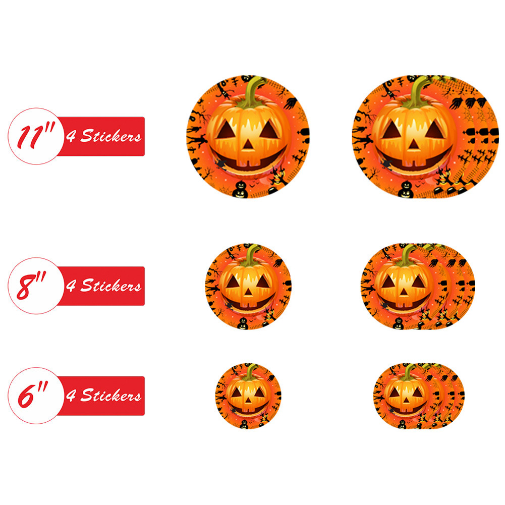 12Pcs Halloween Round Floor Sticker Decor Living Room Scary Eyes Pumpkin Wall Sticker Mural Decals HW002