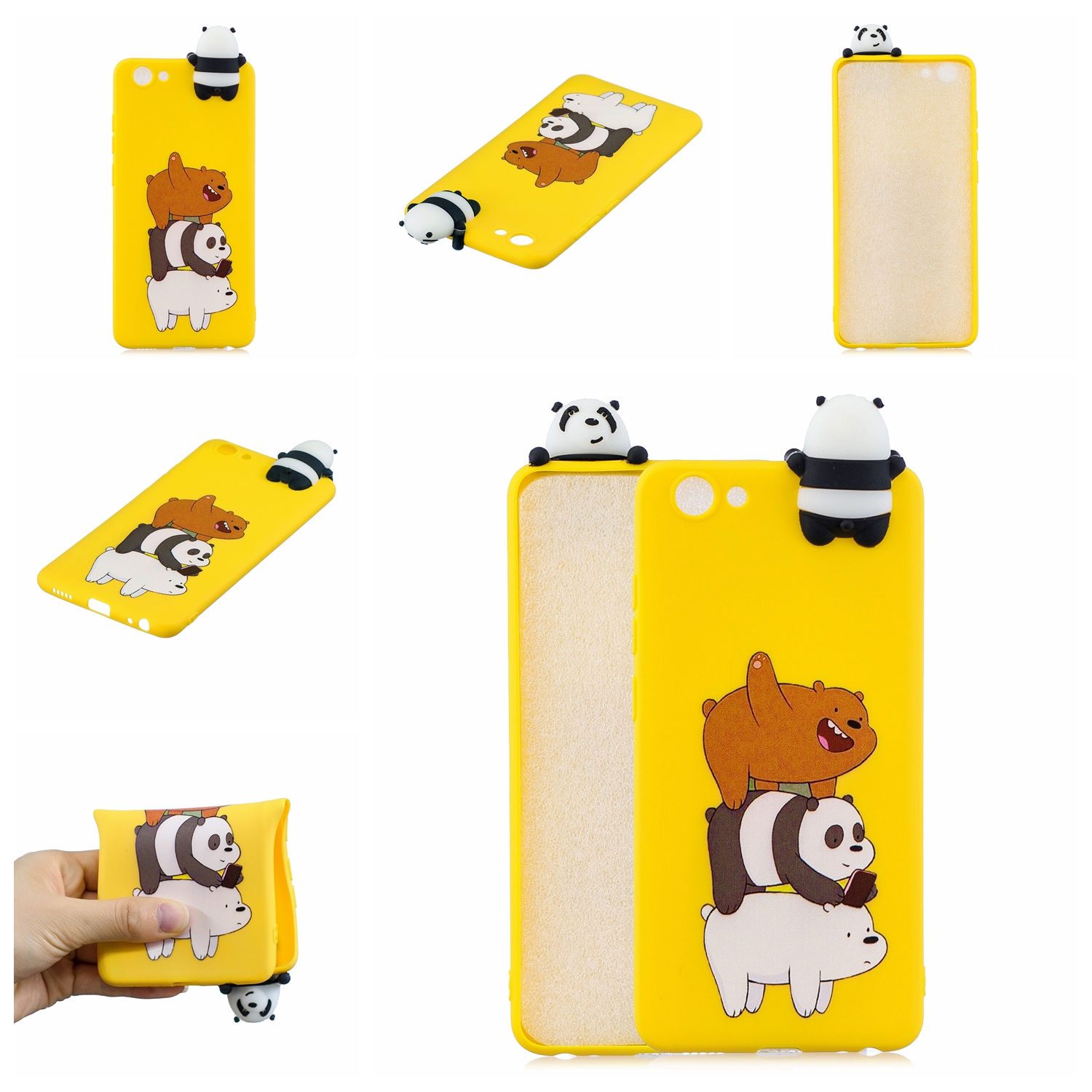 For VIVO Y71 3D Cute Coloured Painted Animal TPU Anti-scratch Non-slip Protective Cover Back Case Striped bear