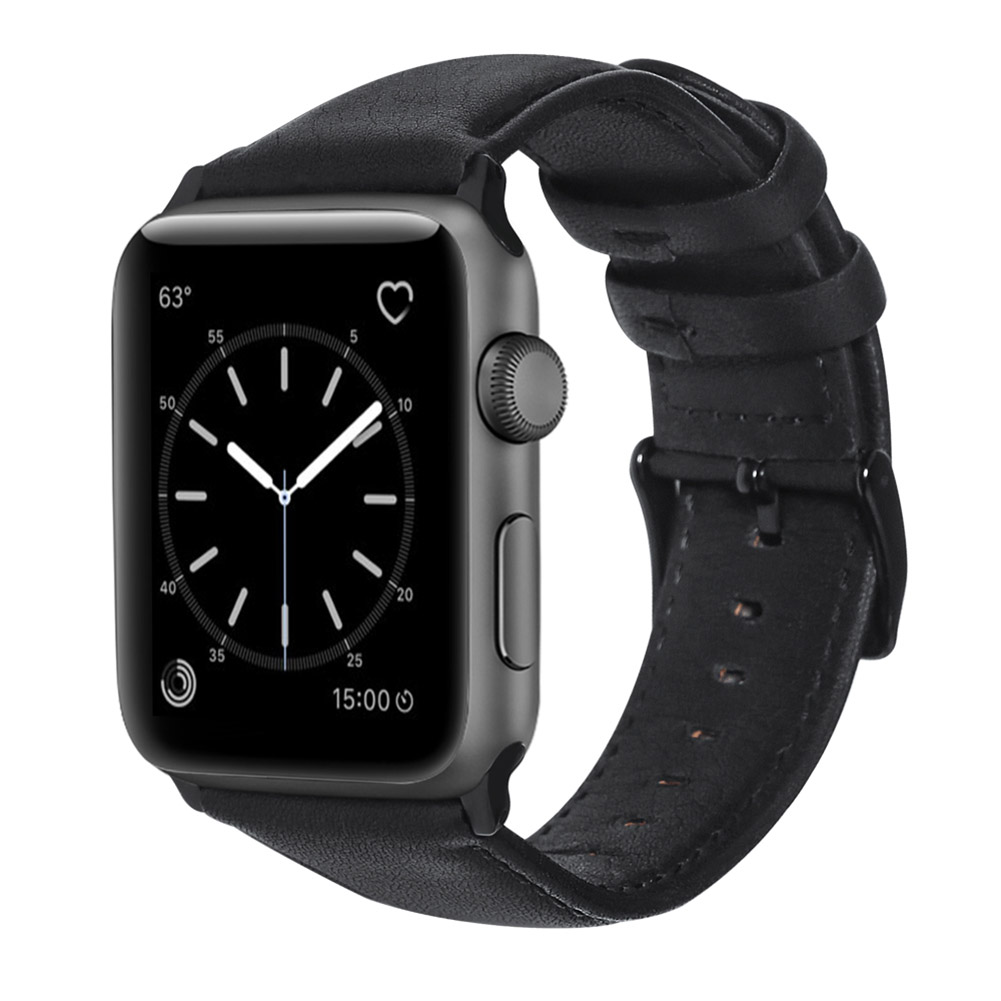 Retro Vintage Leather Strap Replacement Watchband for Apple Watch Series 3 /2 / 1 42mm/38mm 38mm black