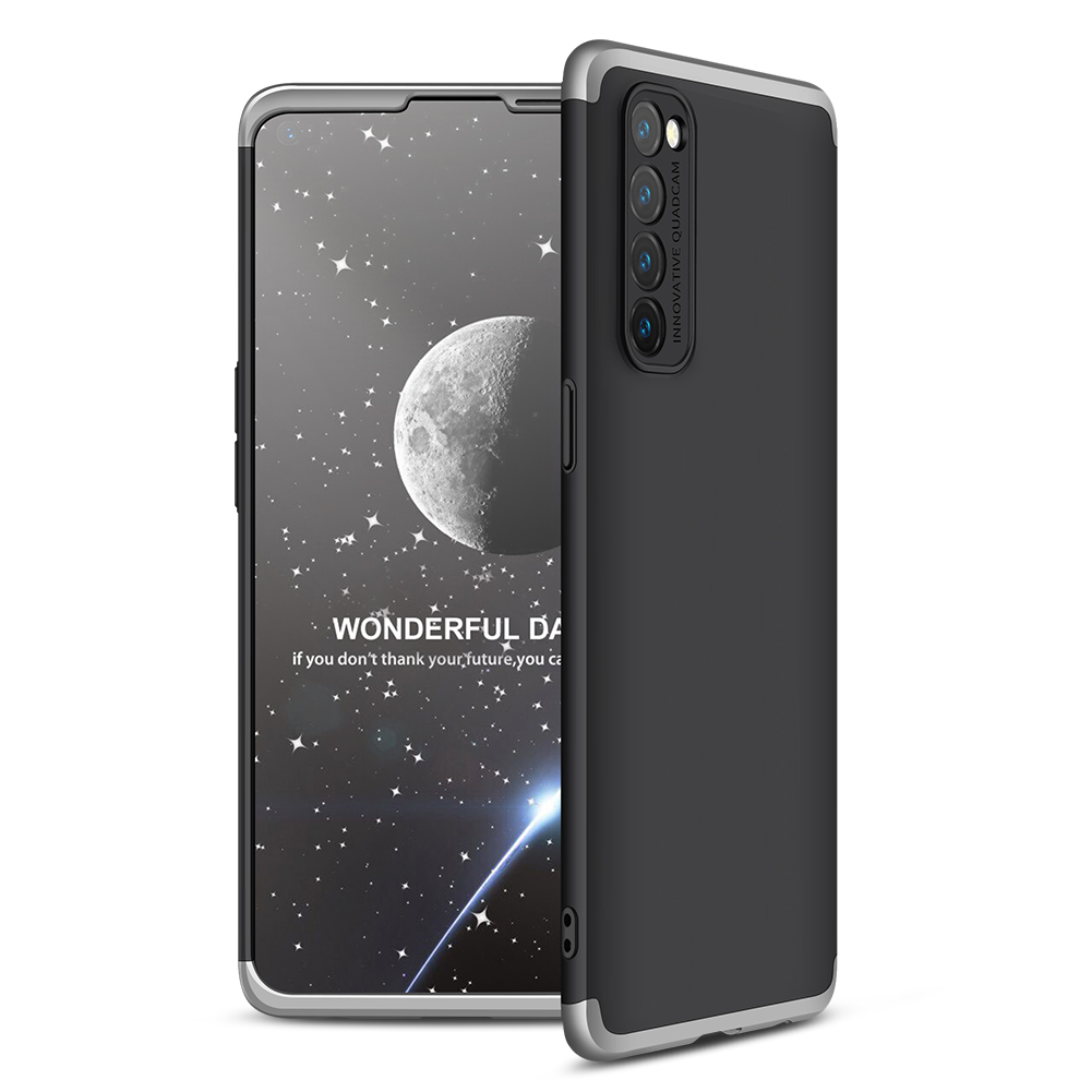 For OPPO Reno 4 /Reno 4 Pro International Edition Mobile Phone Cover 360 Degree Full Protection Phone Case Silver black silver
