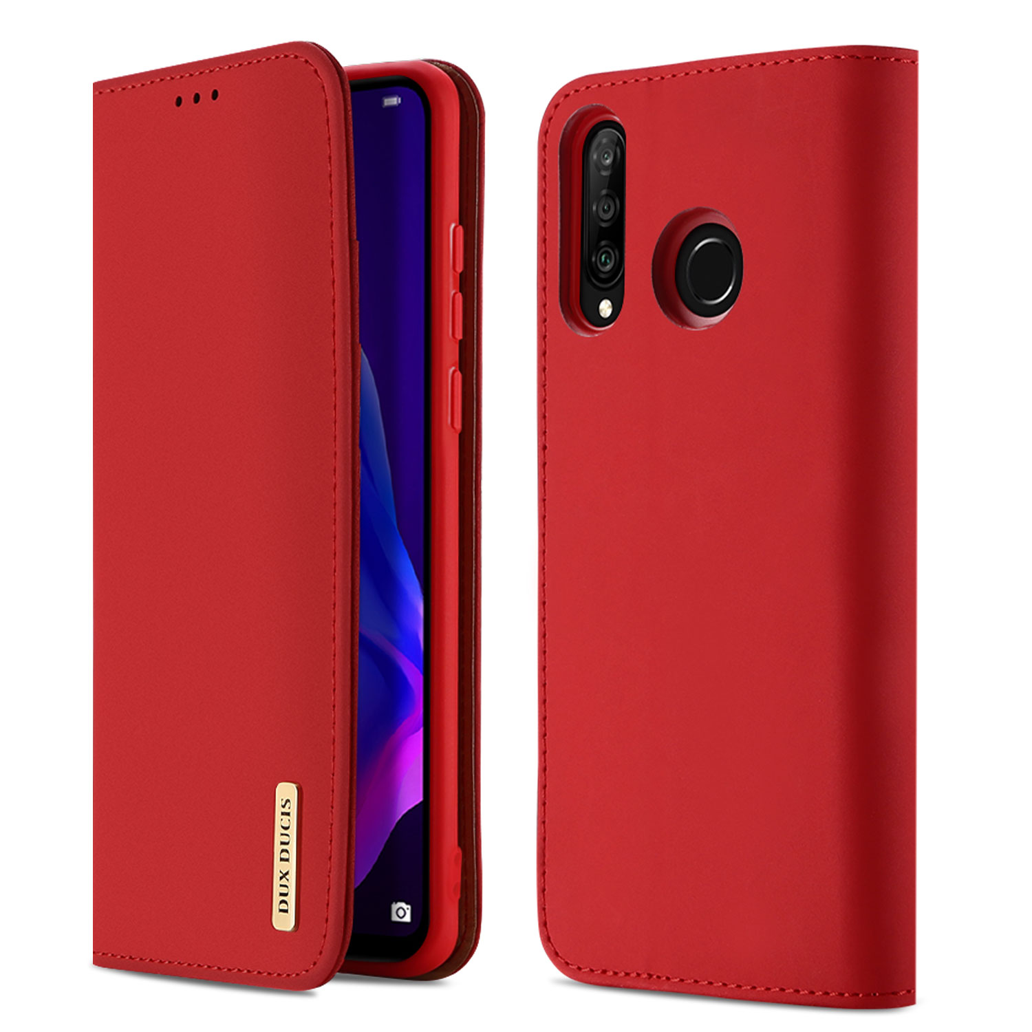DUX DUCIS For HUAWEI P30 lite / Nova 4E Solid Color Magnetic Leather Protective Phone Case with Bracket red