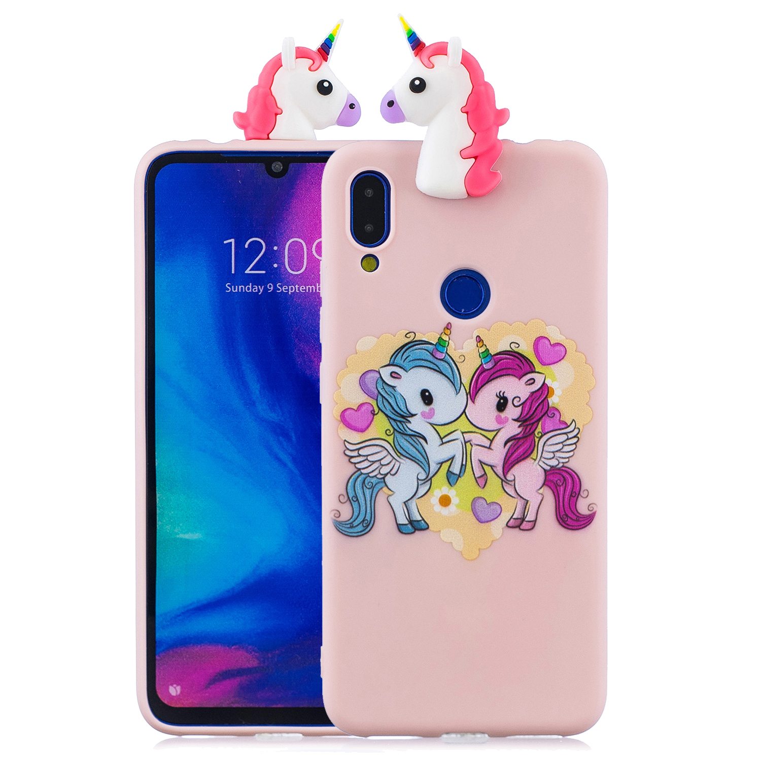 For Redmi NOTE 7 3D Cute Coloured Painted Animal TPU Anti-scratch Non-slip Protective Cover Back Case Light pink