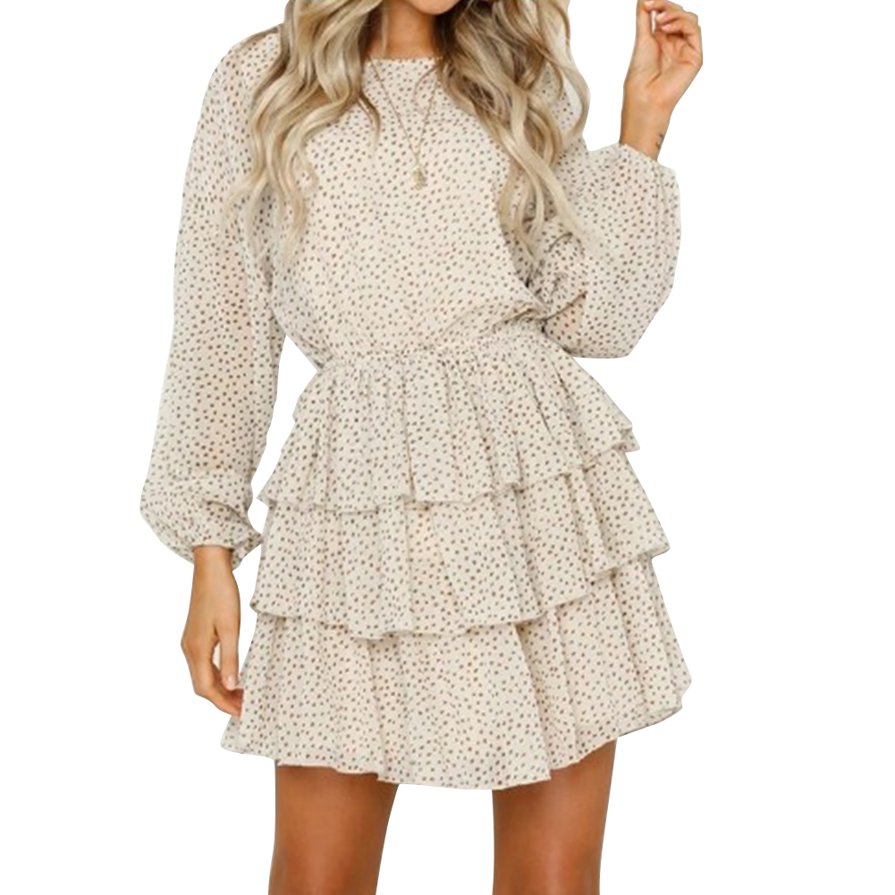 Women Summer Casual Backless Point Pattern Layered Dress