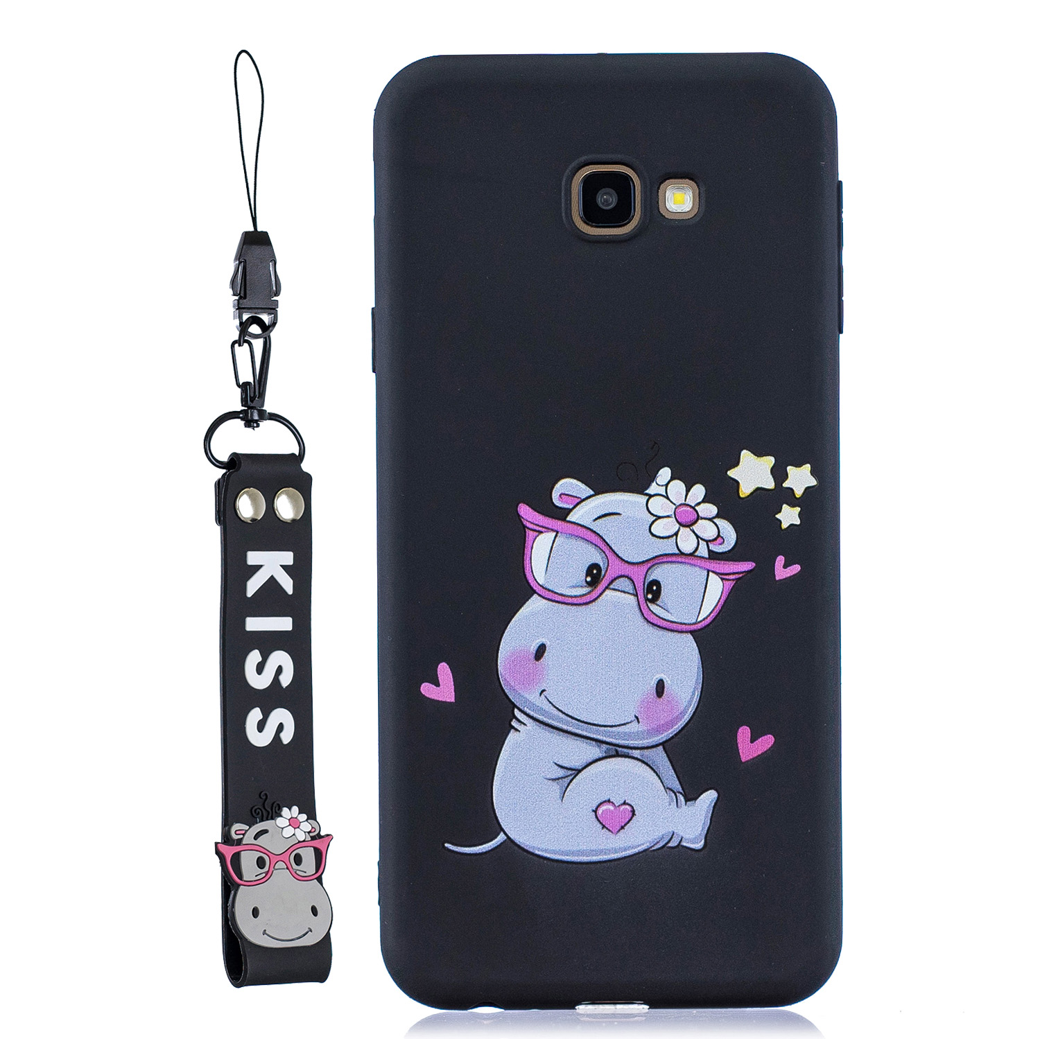 For Samsung J4 plus Cute Coloured Painted TPU Anti-scratch Non-slip Protective Cover Back Case with Lanyard black