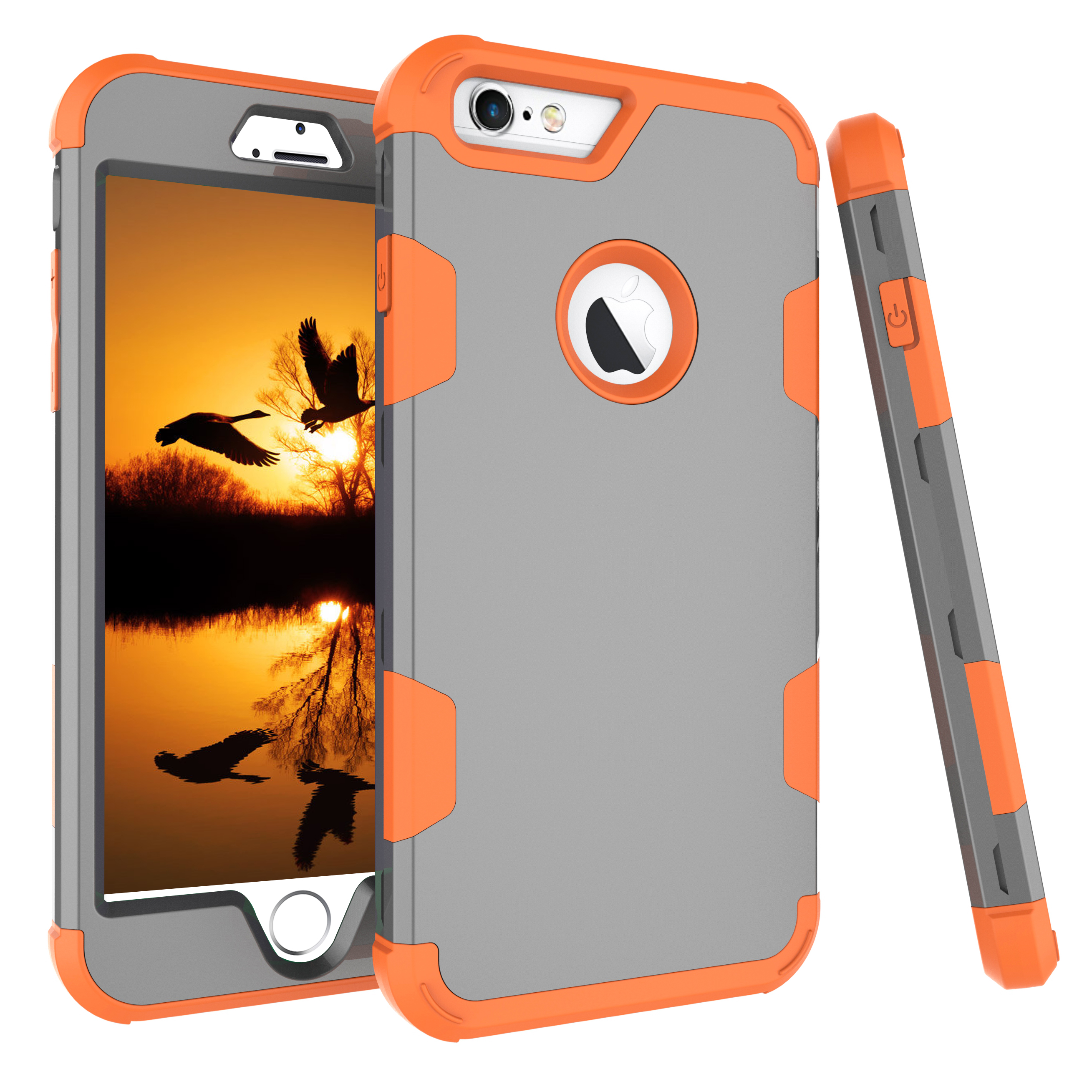For iPhone 6 plus/6S plus PC+ Silicone 2 in 1 Hit Color Tri-proof Shockproof Dustproof Anti-fall Protective Cover Back Case Gray + orange