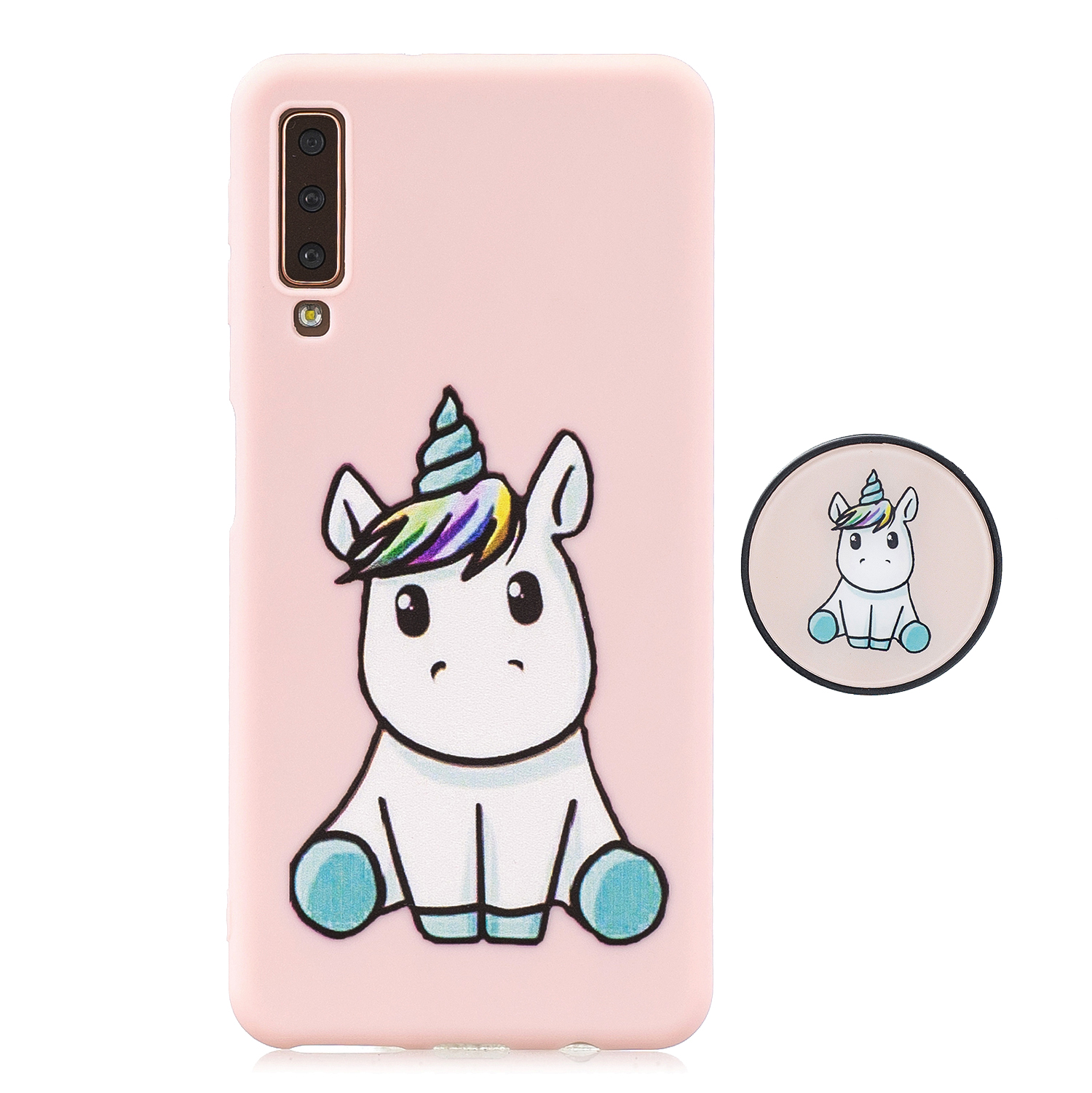 For Samsung A7 2018 A750 Full Cover Protective Phone Case Cartoon Pattern Solid Color TPU Phone Case with Adjustable Bracket 6