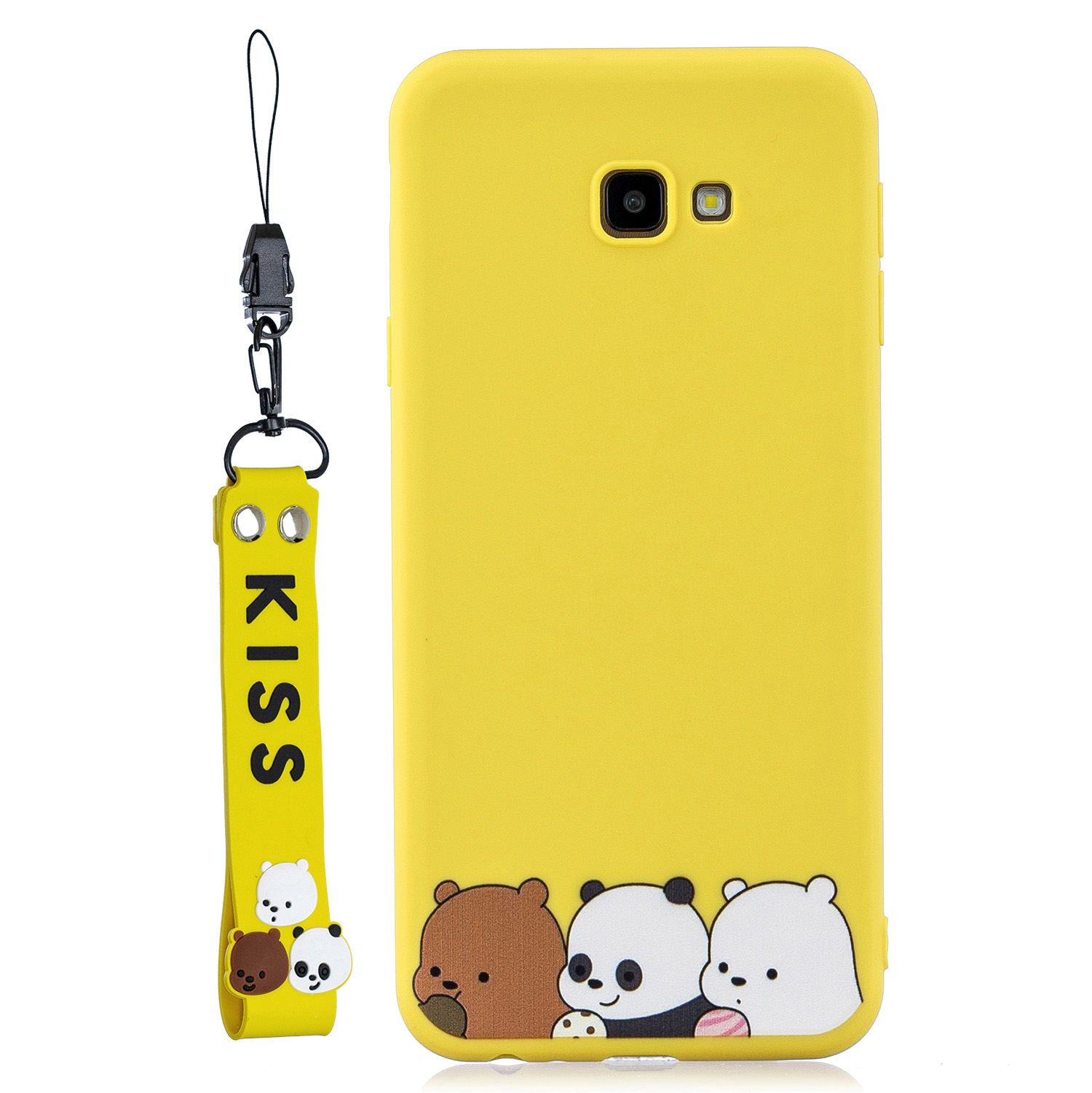 For Samsung J4 plus Cute Coloured Painted TPU Anti-scratch Non-slip Protective Cover Back Case with Lanyard yellow