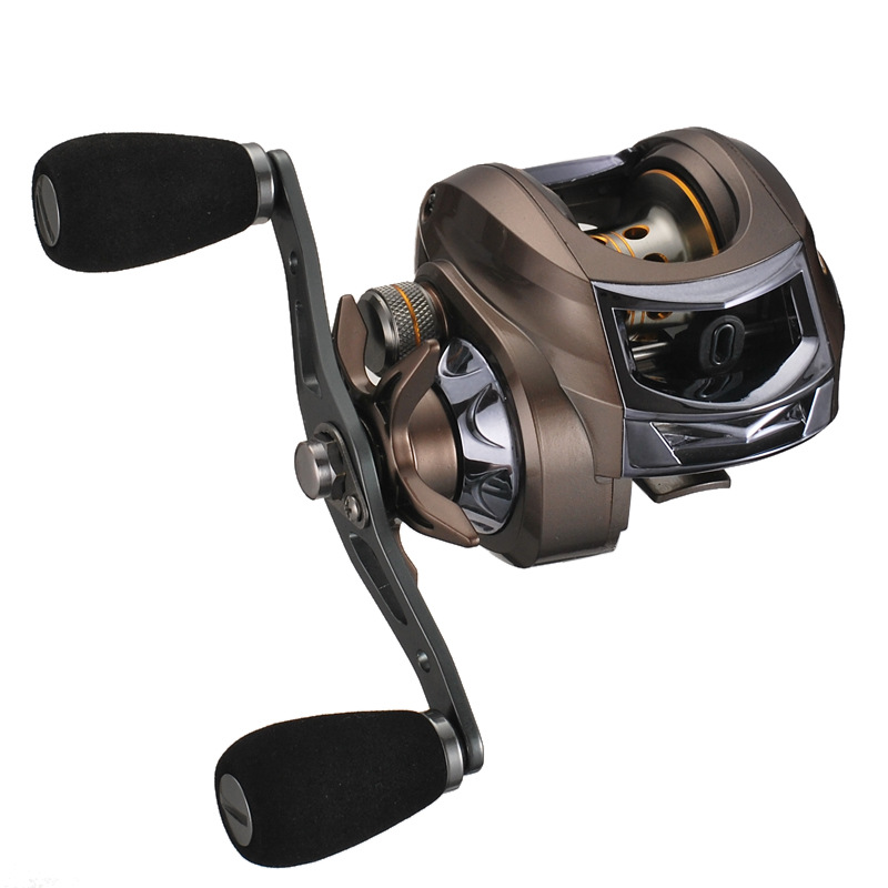 Right-Handed Fishing Reel Round Dark Gold