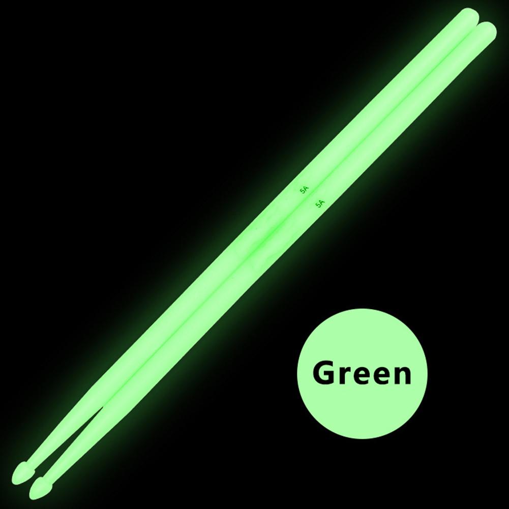 2 Pcs Noctilucent 5A Drum Stick Stage Performance Luminous Lighting Drumsticks Drum Sticks green