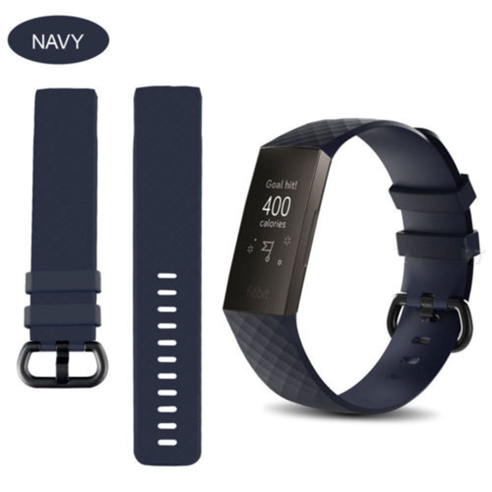 for Fitbit Charge 3 Replacement Band Silicone Strap Sports Wristband Navy blue_small