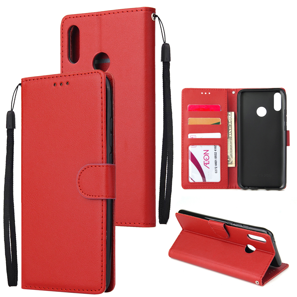 For HUAWEI Y9 2019 Flip-type Leather Protective Phone Case with 3 Card Position Buckle Design Phone Cover  red