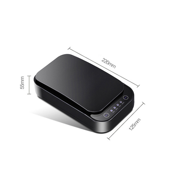 Plastic Mobile Phone Mask Watch Disinfection Box Rectangular Shaped Compact Size Portable black