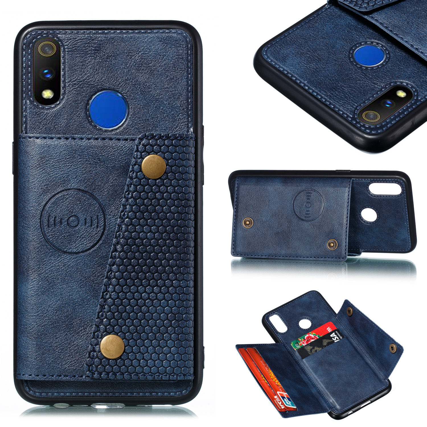 For OPPO Realme 3 PU Leather Flip Stand Shockproof Cell Phone Cover Double Buckle Anti-dust Case With Card Slots Pocket blue