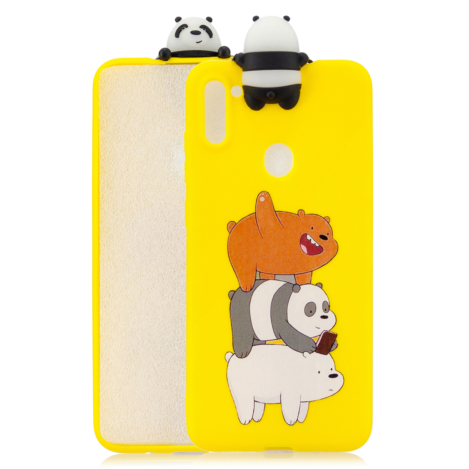 For Samsung A11 TPU Back Cover 3D Cartoon Painting Soft Mobile Phone Case Shell Striped bear