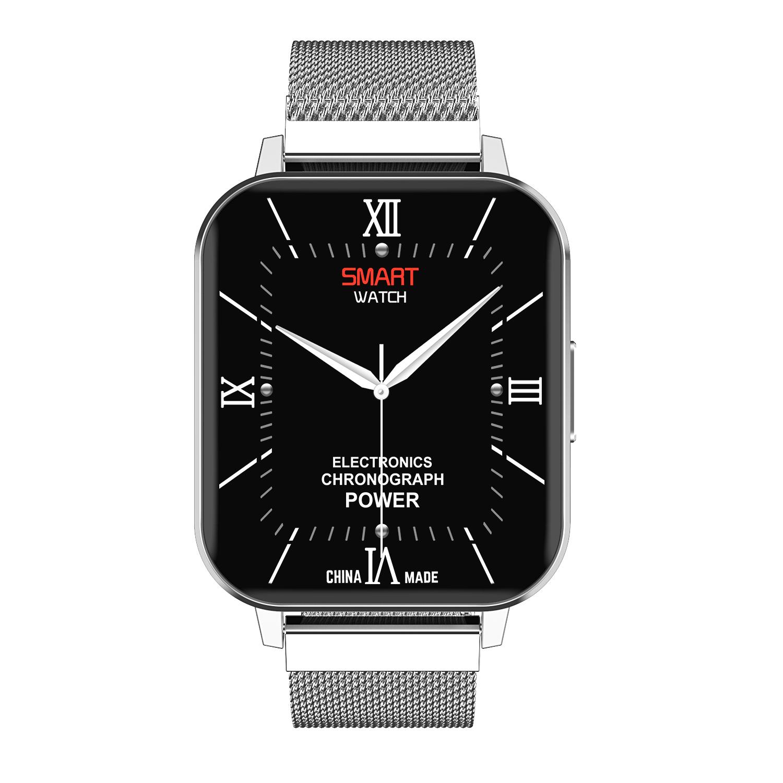 Smart Watch Touch Screen IP68 Waterproof Heart Rate Blood Pressure Monitor Smartwatch Silver_Steel belt