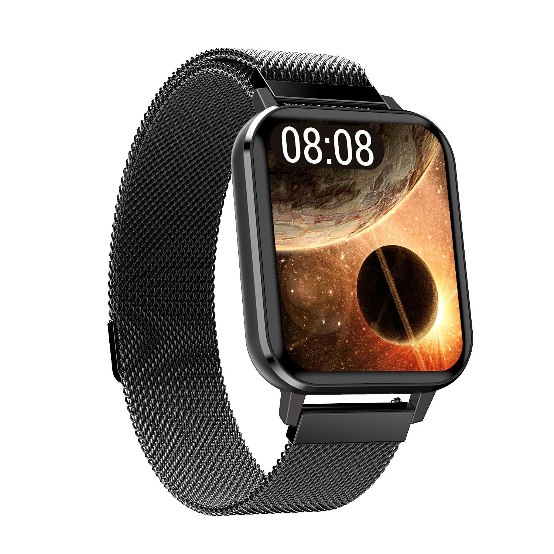 Smart Watch Touch Screen IP68 Waterproof Heart Rate Blood Pressure Monitor Smartwatch black_Steel belt