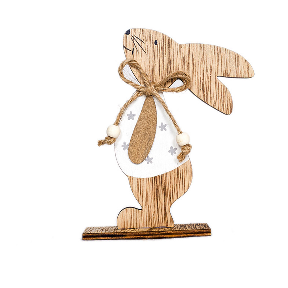 Wooden Rabbit Shape Table Top Stand Decoration for Easter B white clothes flower rabbit