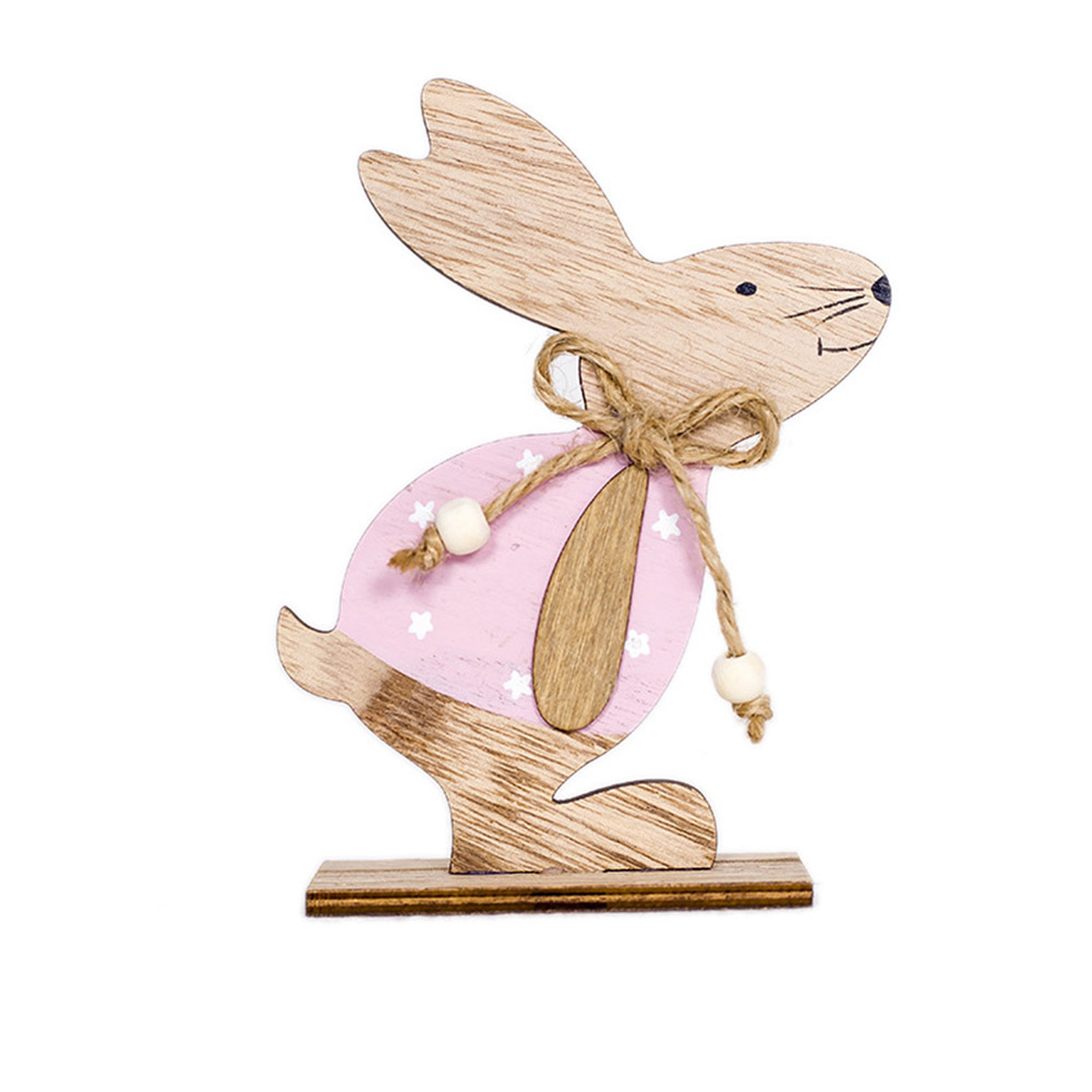 Wooden Rabbit Shape Table Top Stand Decoration for Easter A pink clothes flower rabbit