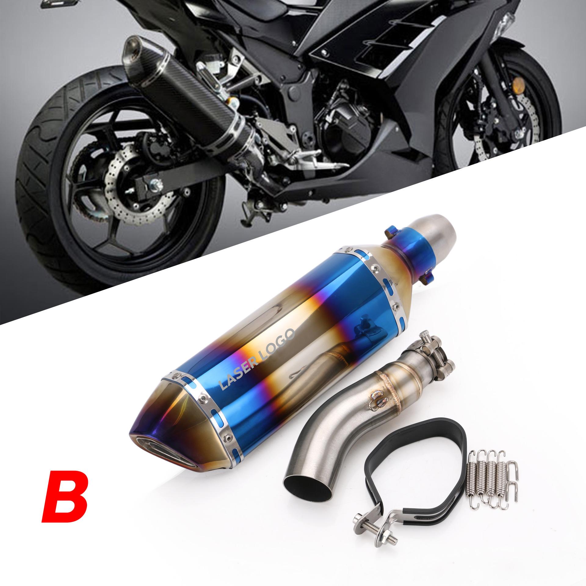 Motorcycle Exhaust Pipe Stainless Steel 41/37mm Exhaust Pipe For Kawasaki Ninja 300 13-15 B