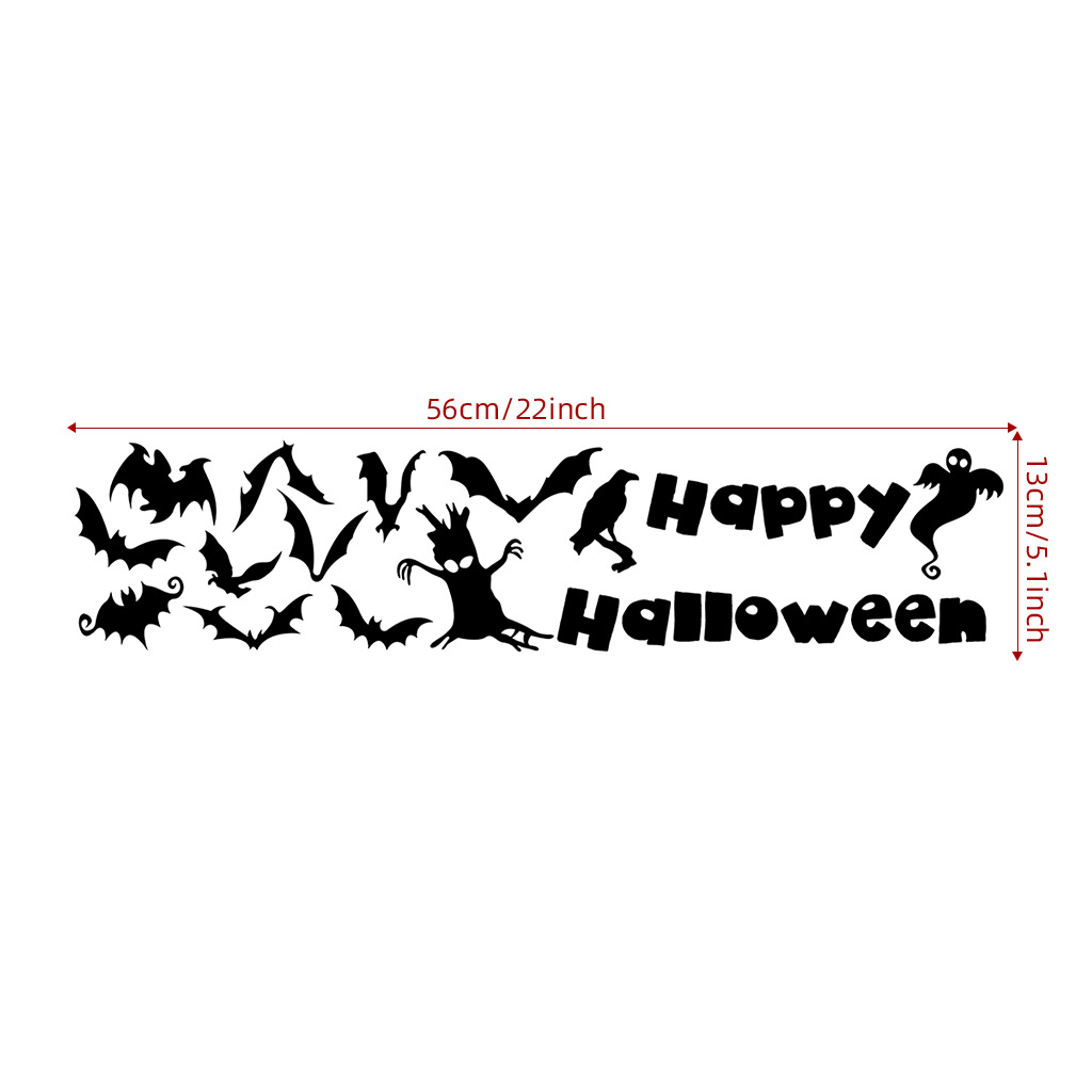 Bat/Witch/Cat Wall Sticker Decal for Home Halloween Party Decoration  AFH2107 13X56cm
