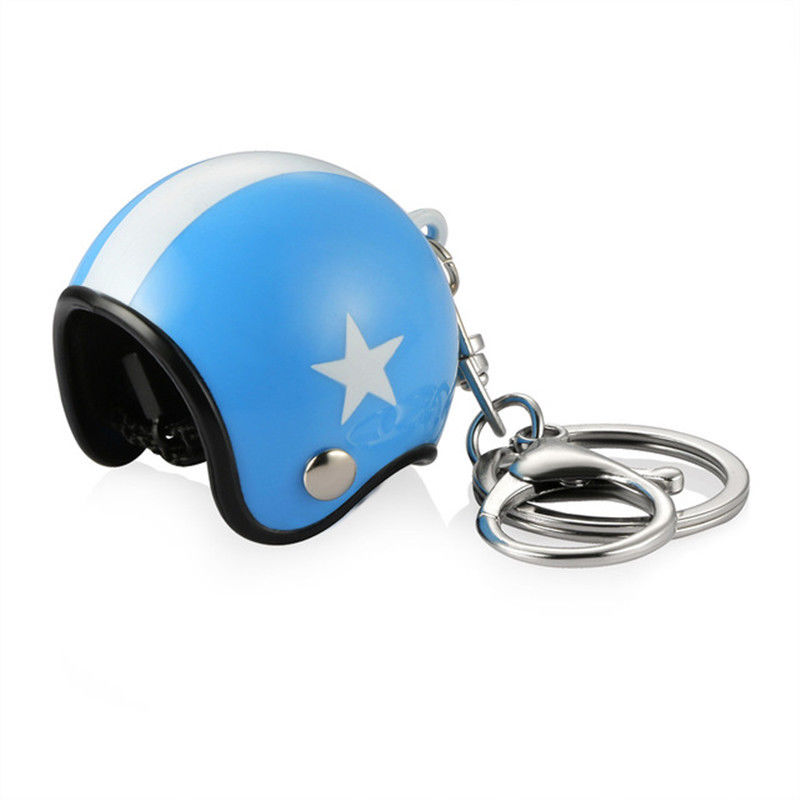 3D Car Motorcycle Motor Bicycle Crash Helmet Key Fob Chain Ring Keychain Dark blue cap white star