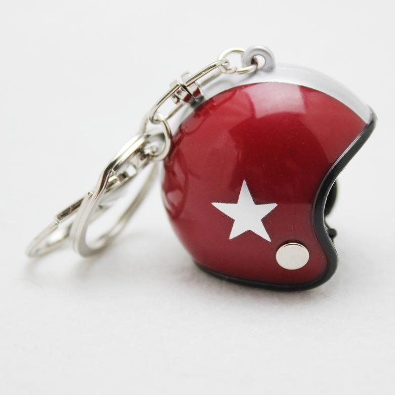 Star Pattern Helmet Design Keychain Car Motorcycle Motor Bicycle Crash Helmet Key Fob Chain  Wine red