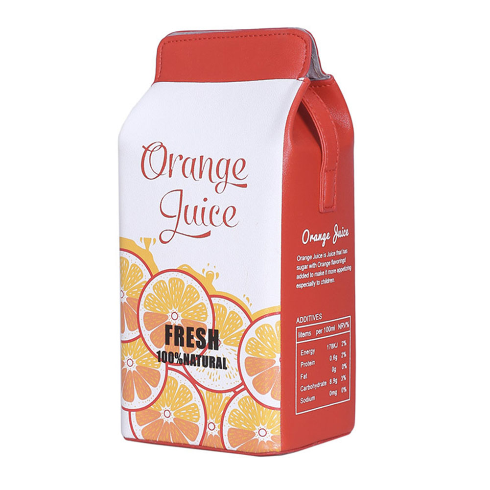Women Cute Cartoon Milk Box Shoulder Bag Crossbody Bag Casual Phone Purse  orange