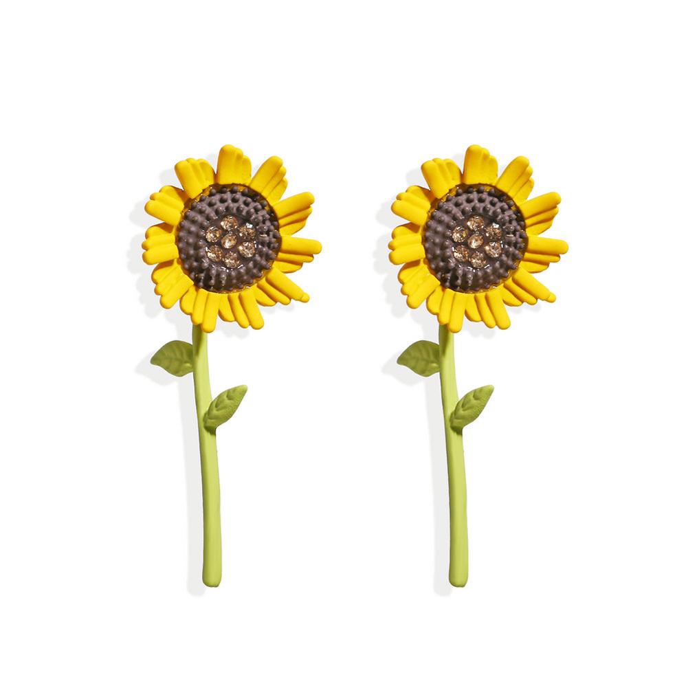 1 Pair Women Ear Studs Sunflower Earrings Simple Fresh Alloy Eardrop Jewelry sunflower