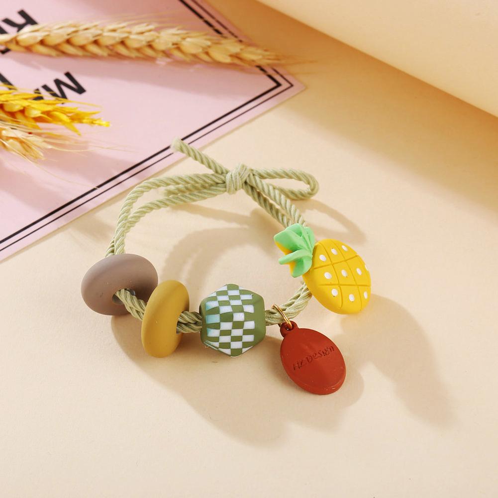 Girl Hair Rope Colorful Fruit Cute Elastic Rubber Band Ponytail Headwear Headdress pineapple