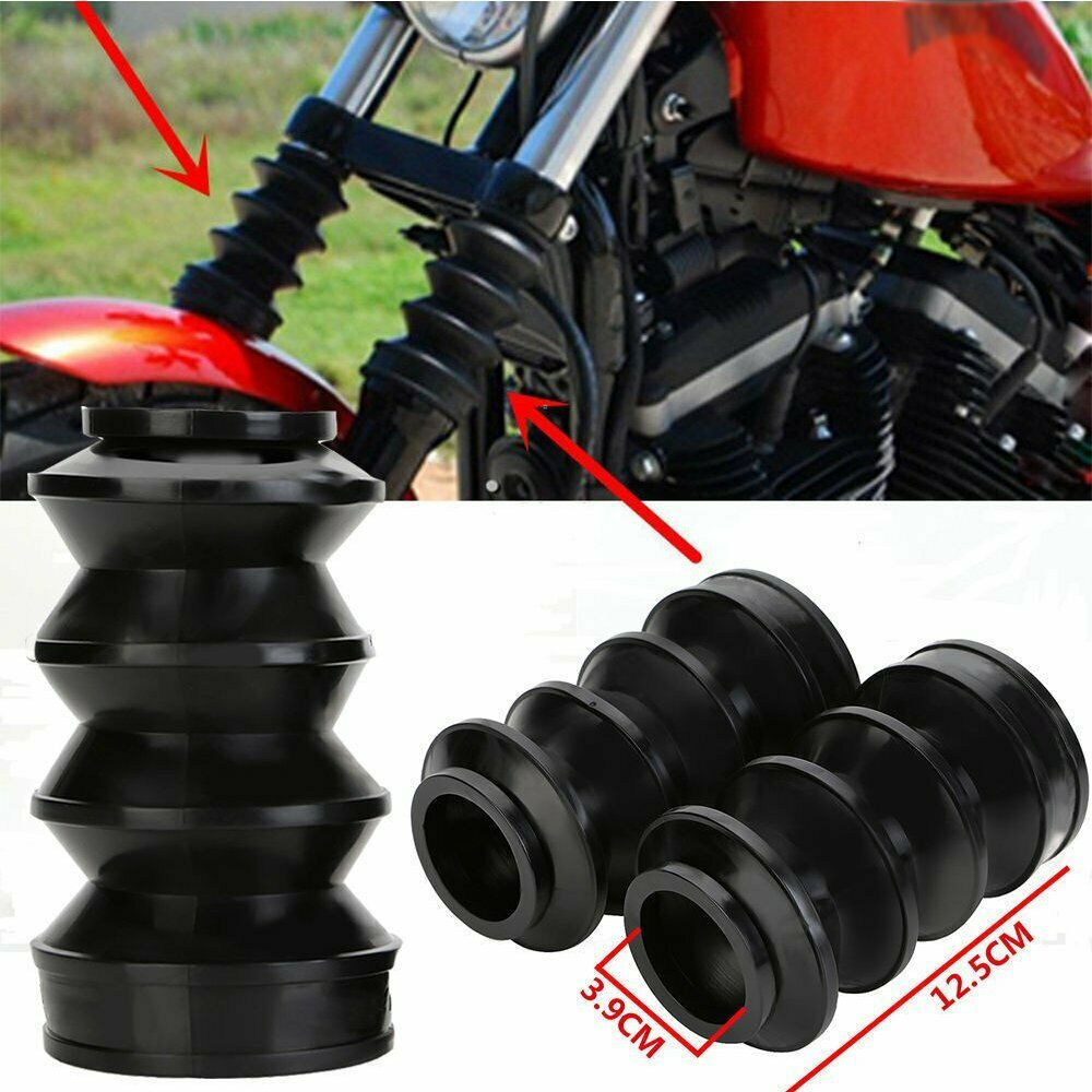 2pcs Motorcycle Fork Protective Cover Motorbike Fork Gaiters Gators Boots black