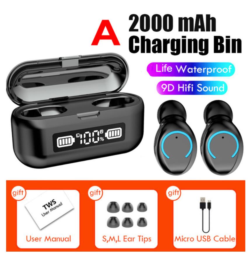 F9-43 Bluetooth V5.1 Headset 9d Stereo Waterproof Wireless Bluetooth Headphone black