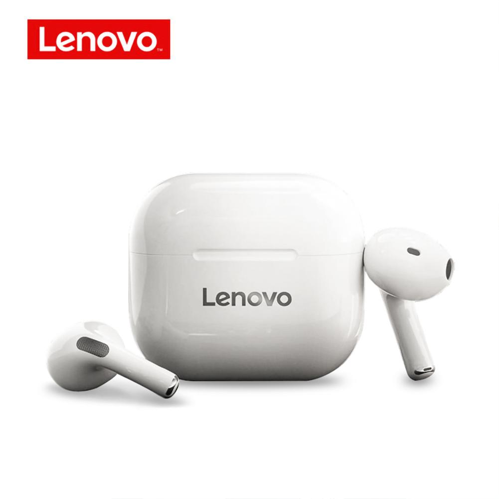 Original LENOVO Lp40 Tws Wireless Earphone Bluetooth 5.0 Noise Reduction Bass Touch Control Long Standby Earphones White