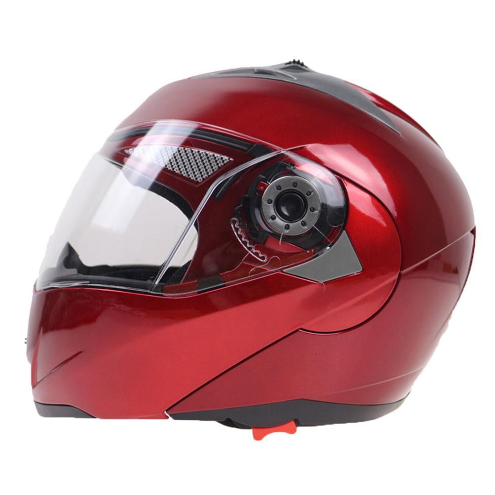105 Full Face Helmet Electromobile Motorcycle Transparent Lens Protective Helmet Red XL