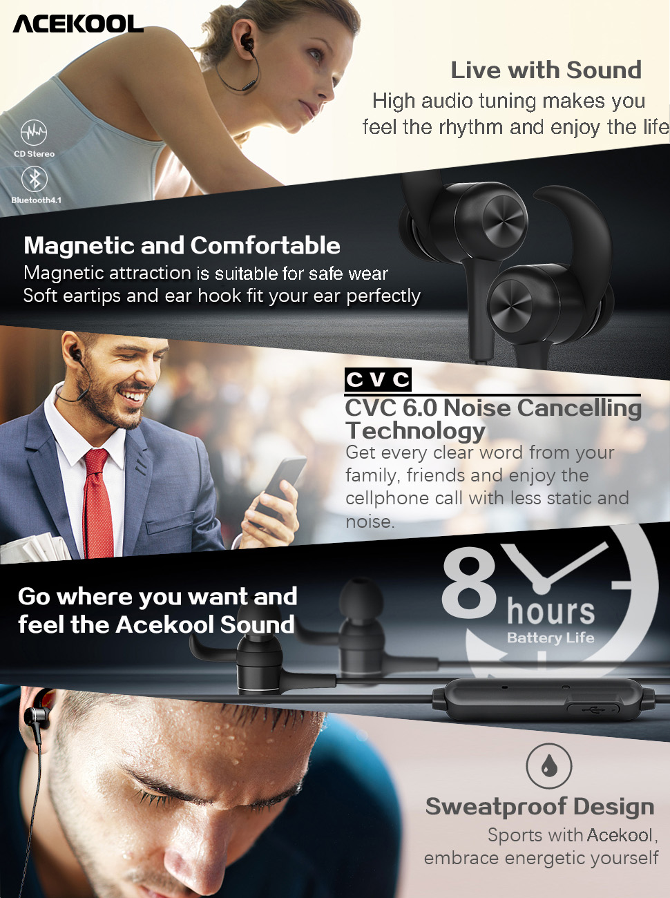 Bluetooth Headphones In Ear, Wireless Magnetic Headphones HD Stereo Earphones, IPX5 Sweatproof Secure Fit for Sports with CVC 6.