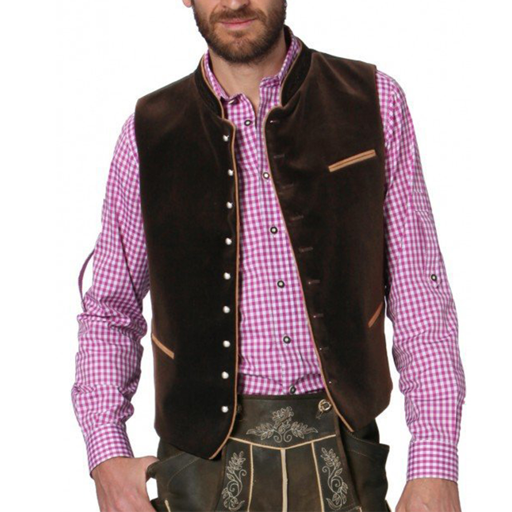 Men Casual Vest Beer Festival Waistcoat for Bavarian Traditional Costume Festival Party coffee color_46