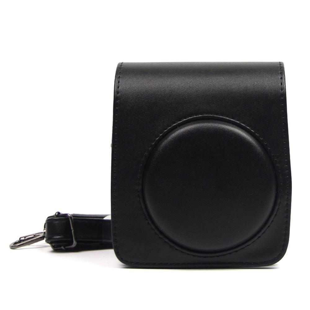 Retro Leather Camera Bag with Strap Soft Shoulder Bag for Fuji Polaroid Instax Mini70  black