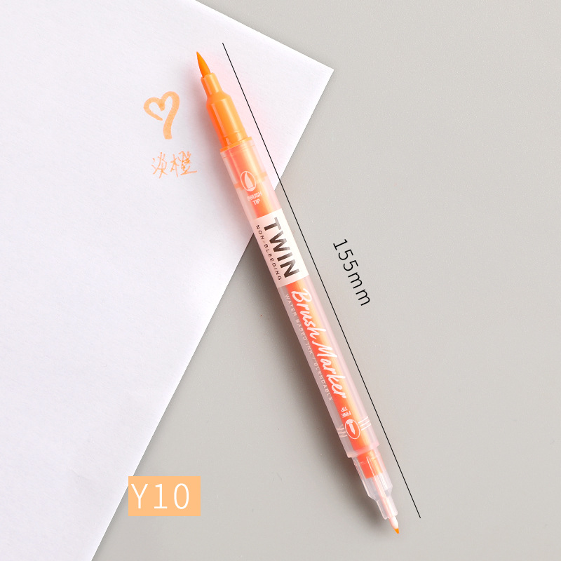 Double Head Marker Pen Multi Color Watercolor Water Based Hand Account Painting Pen Stationery Office Stationery Y10 light orange_15cm