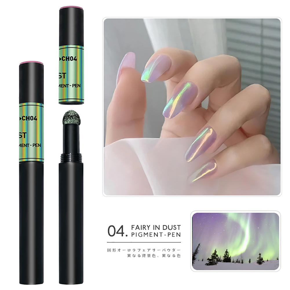 Solid Powder Air Cushion Magic Pen Nail Art Magic Mirror Effect Phantom Nails Pen Manicure Tools Aurora Mirror-04#