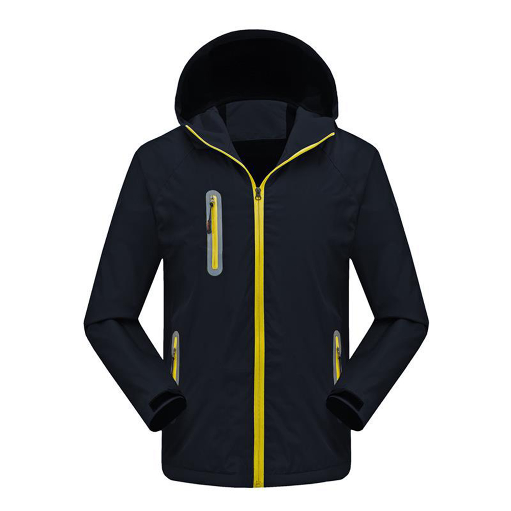 Men's and Women's Jackets Autumn and Winter Outdoor Reflective Waterproof and Breathable  Jackets black_L