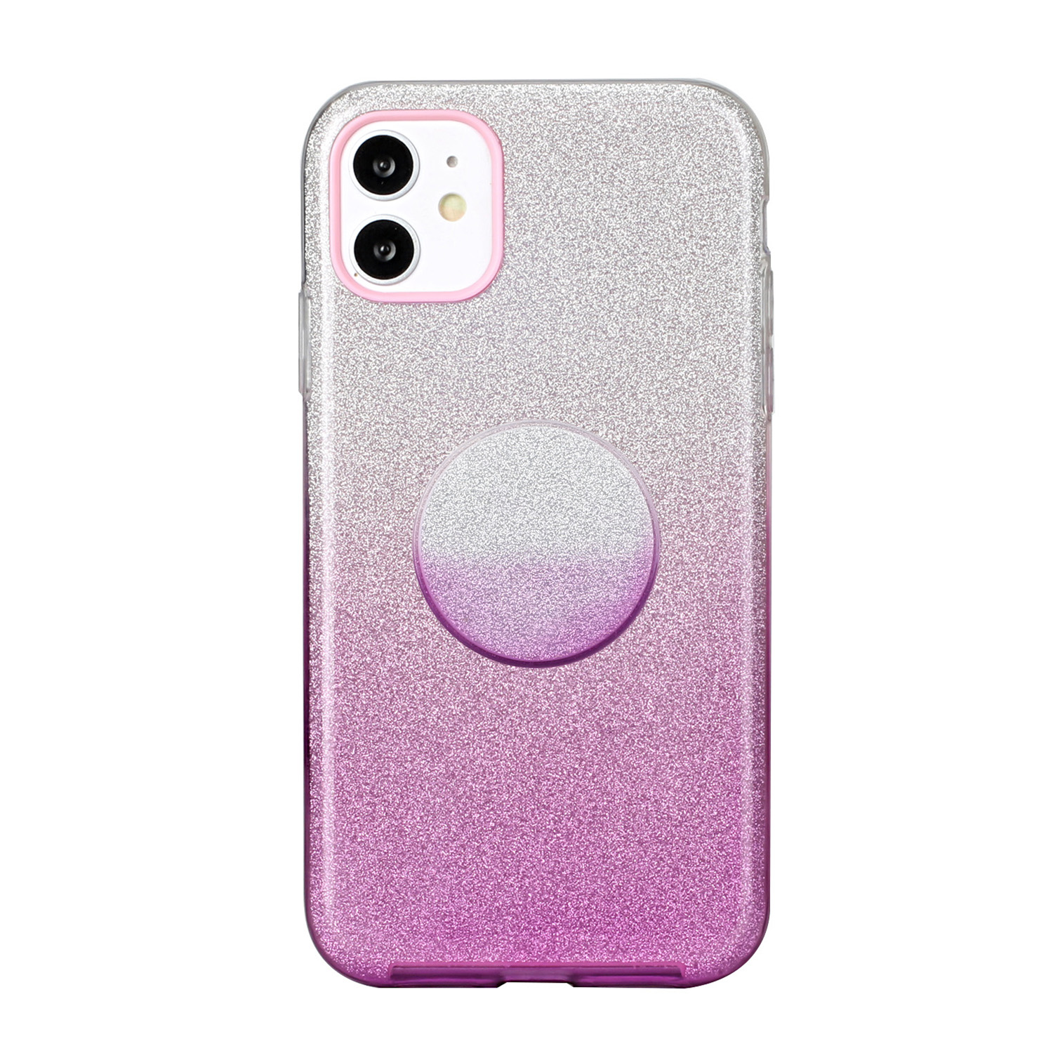 For iphone X/XS/XR/XS MAX/11/11 pro MAX Phone Case Gradient Color Glitter Powder Phone Cover with Airbag Bracket purple
