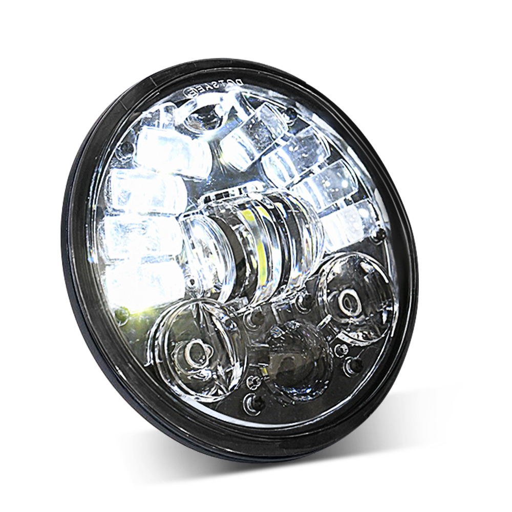 Motorcycle Led Drl Halo Headlight Aluminum Alloy 5.75-inch Motorcycle Headlight As shown